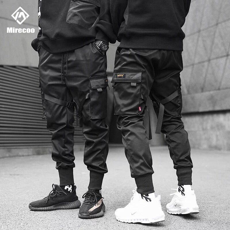 Multi-Pocket Techwear Cargo Pants Men Punk Harem Joggers Sweatpants Trousers Men Pants Drawstring Harajuku Hip Hop Street wear