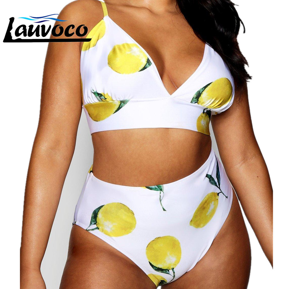 Plus Size High Waist Bikini Floral Print Bikini Set Swimwear V Neck Ladies Swimsuit Sexy Tankini Femme Swimming Suit For Women
