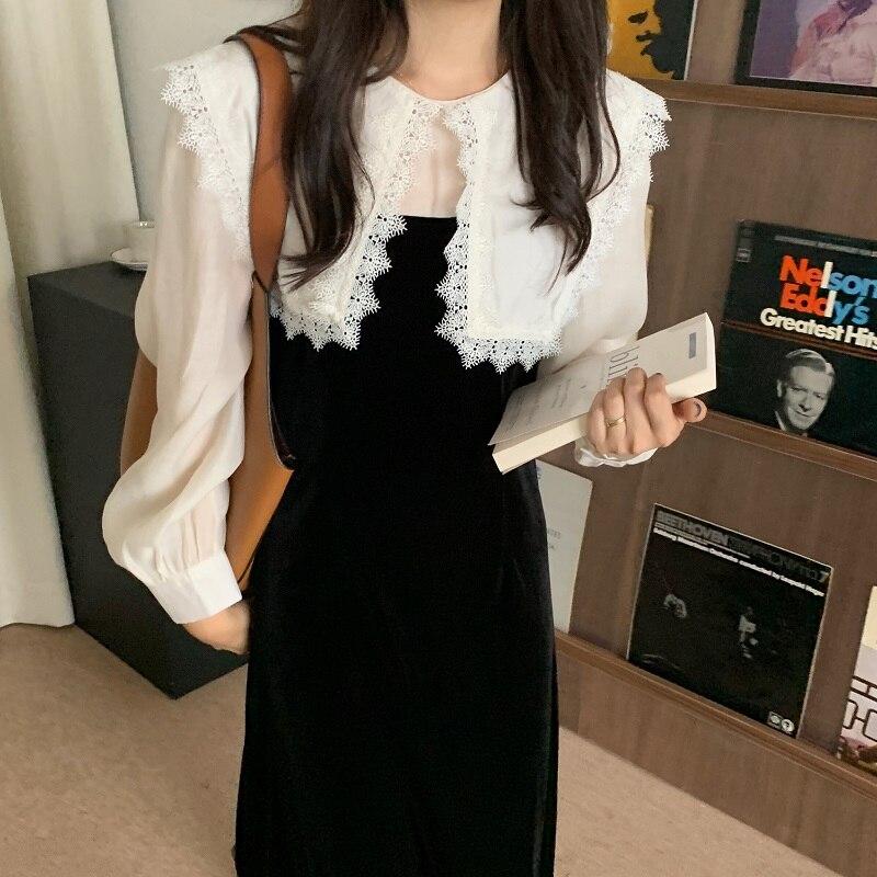 Ha26c137025f043a5ab8ff7092b4fcf34T - Autumn / Winter Puritan Lace Collar Long Sleeves Velvet Patchwork Midi Dress