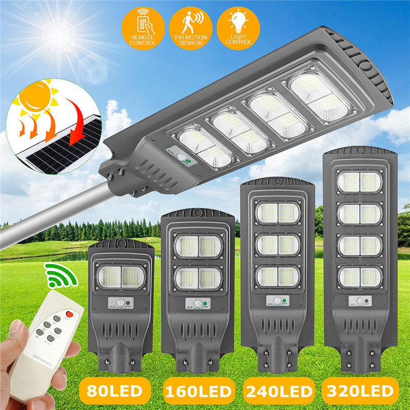 Waterproof IP65 Outdoor Lighting Remote Control LED Solar Street Light 80W 160W 240W 320W PIR Motion Radar Sensor Solar Lamp