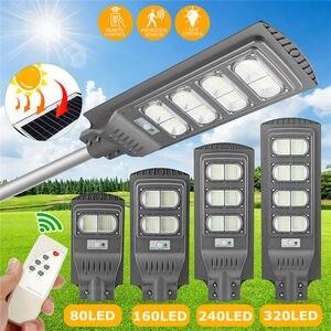 Wodoodporny IP65 oświetlenie zewnętrzne pilot solarne lampy uliczne LED 80W 160W 240W 320W PIR Motion czujnik radarowy lampa słoneczna