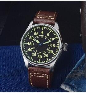 Image 2 - Мужские Водонепроницаемые механические часы пилот из нержавеющей стали
