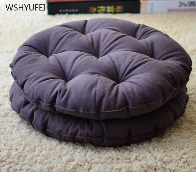 Cotton And Linen Futon Mat Tatami Round Cushion Office Square Cushion Padded Fabric Sofa Student Bench Wicker Chair Cushion