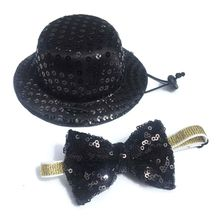 Top-Hat Costume Collar-Accessories Sequined Small-Dog with Bow-Tie-Set Pet-Festive Travel