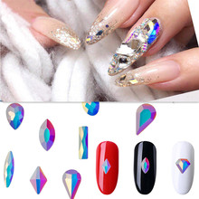 15 conceptions 10/50pcs Super paillettes cristal ongles gemmes ovale goutte d'eau diamant brillant pierre Nail Art strass manucure conseils(China)