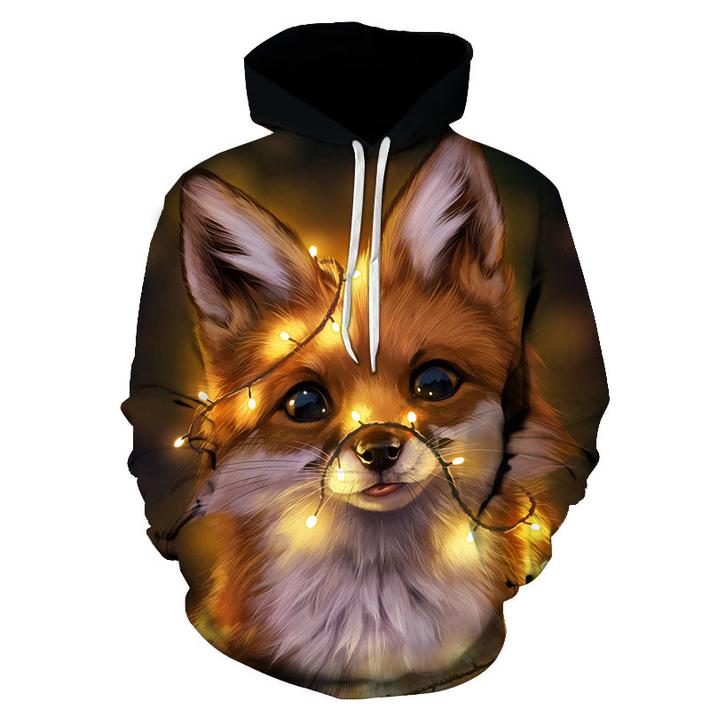Women Sweatshirt And Hoody Ladies Hooded Glowing Fox Pattern 3D Printed Casual Pullovers Girls Long Sleeve Autumn Winter Clothes