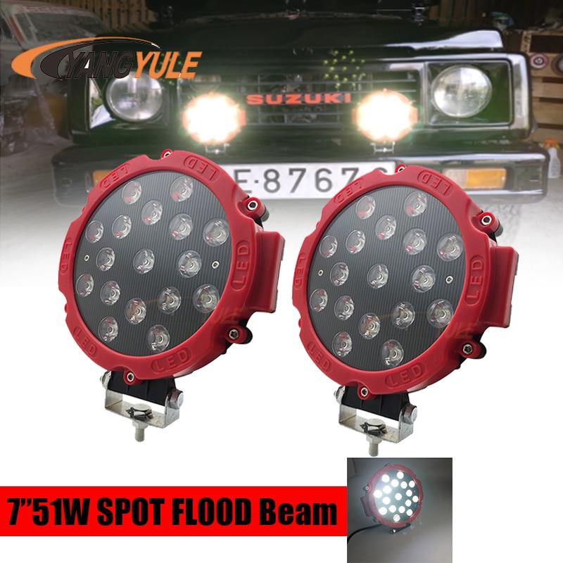 7Inch LED Light Spotlight 51W 6000K Work Light Spot Beam Light for Car SUV Truck