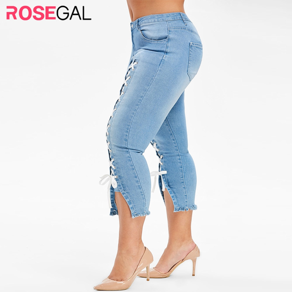 ROSEGAL Plus Size Lace Up Capri Frayed Jeans Women Frayed Zipper Fly Cropped Jeans Skinny High Waist Pencil Pants Streetwear