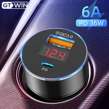 GTWIN Mini PD Car Charger Fast Charging For iPhone Samsung 6A QC3.0 Universal Cahrge Adapter Quick Charge 3.0 USB Car Charger quick charge 4 0 36w qc pd 3 0 car charger for samsung fast car charging for xiaomi iphone type c pd car usb charger universal