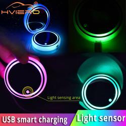2X Auto Led Car Cup Holder Bottom Pad LED Hub Lamp Cover Trim Atmosphere Lamp Welcome Light Anti-slip Mat Colorful Light Coaster