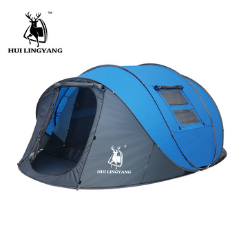 HUI LINGYANG Throw pop up tent 4-6 Person outdoor automatic tents Double Layers large family Tent waterproof camping hiking tent 1