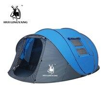 Hui lingyang jogar pop up tenda 4 6 pessoa ao ar livre tendas automáticas duplas camadas grande família barraca de acampamento impermeável caminhadas tenda