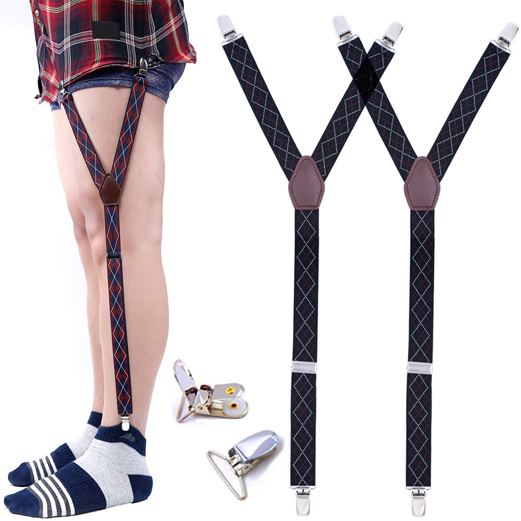 Adjustable Shirt Stays Garters Clips For Men Formal Wear Non-Slip Shirt Holders Straps Sock Clamps Leg Suspenders Shirt Tuckers