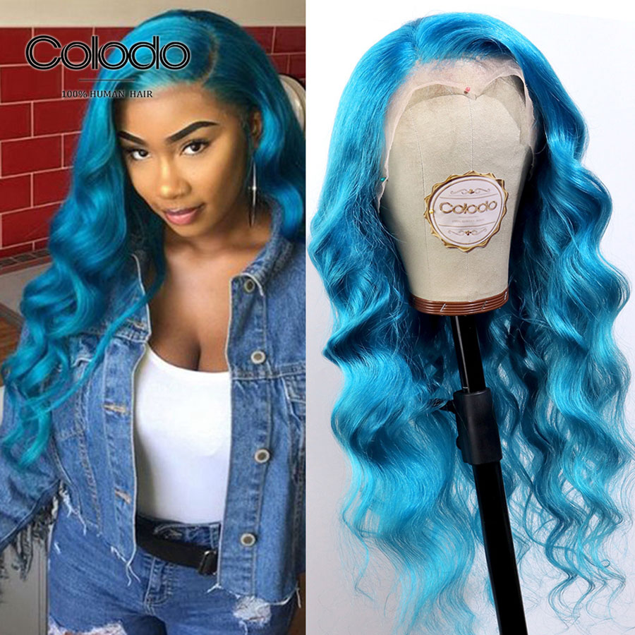 COLODO 13x4 Brazilian Deep Wave Wig 150 Transparent Lace Wigs With Baby Hair Remy Blue Hair Lace Front Human Hair Wigs For Women
