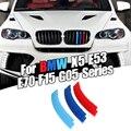 Dropship 3pcs รถ 3D M จัดแต่งทรงผมด้านหน้า Grille Trim กันชนแถบแถบสติกเกอร์สำหรับ BMW X5 Series e70 2008-2013