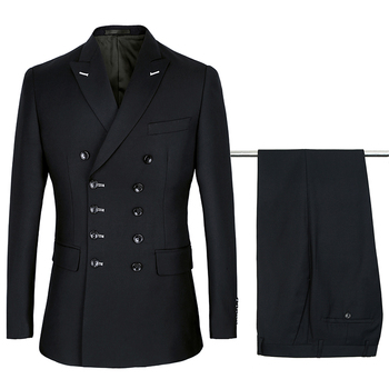 2020 New Arrival Black Double Breasted Suits For Men Wedding Dinner Business  2 Piece Costume Slim Fit (Jacket+Pant)