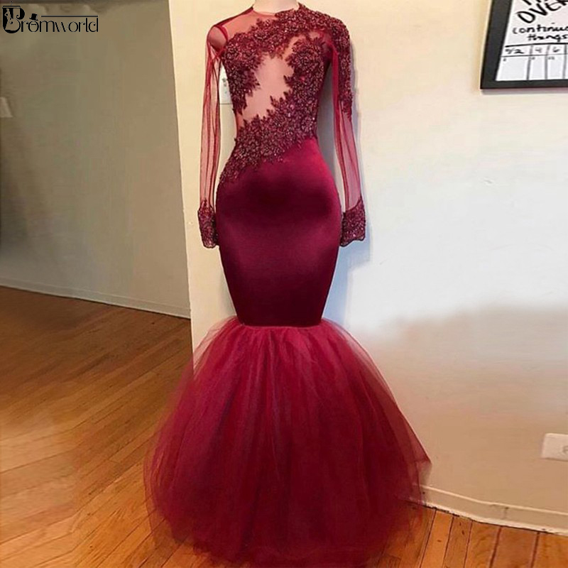 Burgundy Mermaid Prom Dresses 2019 Appliques Lace Party Maxys Tulle Skirt Long Sleeves Prom Gown Evening Dress Vestidos De Gala