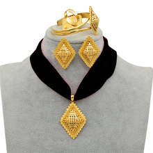 Anniyo DIY Rope Ethiopian Jewelry set Pendant Necklaces Earrings Bangle Ring Gold Color Eritrea Habesha Jewellery Sets #218406