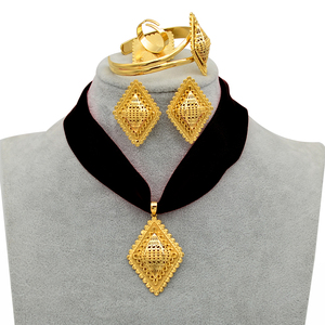 Image 1 - Anniyo DIY Rope Ethiopian Jewelry set Pendant Necklaces Earrings Bangle Ring Gold Color Eritrea Habesha Jewellery Sets #218406