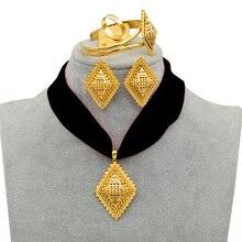 Anniyo Diy Touw Ethiopische Sieraden Set Hanger Kettingen Oorbellen Bangle Ring Goud Kleur Eritrea Habesha Sieraden Sets #218406