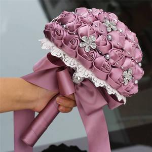 Image 5 - Wifelai uma rosa de veludo roxo, de seda, noiva, buquê de casamento, romântico, dama de honra, broche de cristal, buquê w569