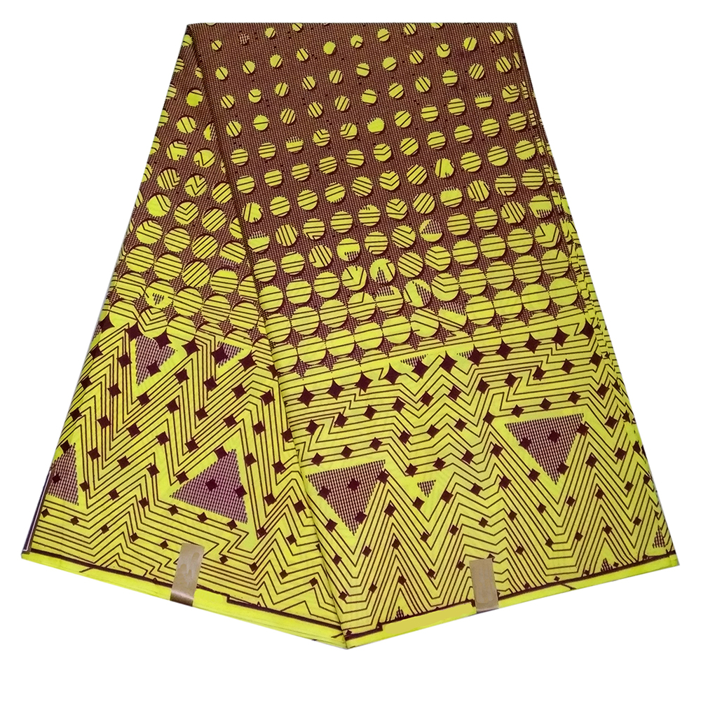 African Dutch Wax Fabric Polyester Nigerian Ankara Material High Quality Yellow Geometric Patterns Print Dutch Wax Fabric