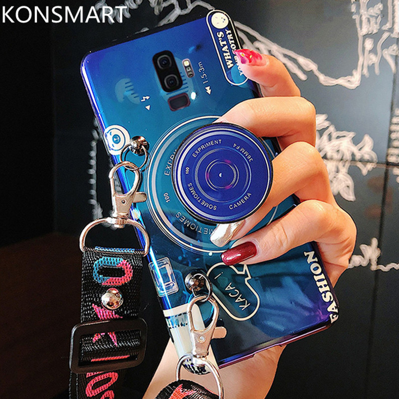 Blue Light <font><b>Case</b></font> for Samsung S7edge S8 S9 S10 PLUS A10 A20 A30 A40 A50 A70 <font><b>Note</b></font> 8 <font><b>Note</b></font> <font><b>9</b></font> Back Cover Camera <font><b>with</b></font> Strap KONSMART image