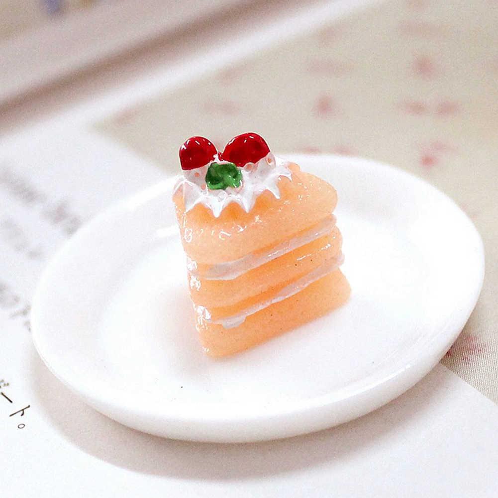 Estatuilla de Comida en miniatura de pastel de Chocolate de simulación 3 uds accesorios de casa de muñecas modelo de pastel realista regalos perfectos para niñas