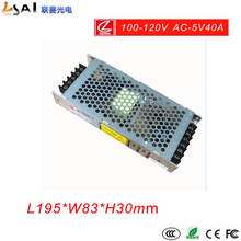 Led 5V power supply AC110V input 40A200W LED display/AC100V-DC5V40A Ultra-thin