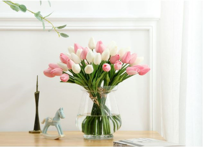 1PC PU Mini Tulips Artificial Flowers For Home And Wedding Decoration Flowers 45