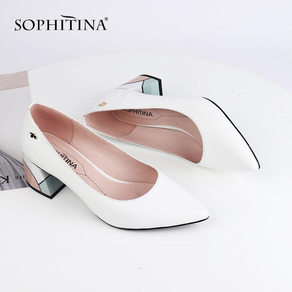 SOPHITINA Sexy bout pointu pompes haute qualité en peau de mouton Design de mode mixte couleur chaussures à talons carrés nouvelles pompes pour femmes PC567