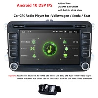 Android 10 Quad Core Double 2 Din 7 Inch Car DVD Player Navigation Stereo For VW POLO GOLF JETTA PASSAT SKODA SEAT Free Camera