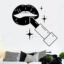 Make Up wall decal Beauty Salon Wall Vinyl Sticker Fashion Cosmetic Wall Poster removable Art Murals JH49 make up wall sticker beauty salon wall decal vinyl beauty girl removable wall art mural jh53