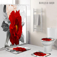 Romantic Bathroom Set Flower Pattern Waterproof Shower Curtain Carpet Toilet Cover Mat Non Slip Area Rug Home Decor