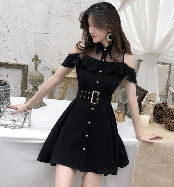 ZAWFL Elegant Women Lace Black Ruffle Mesh Splice Turn-Down Collar Dress Casual A Line Mid Length Dress 2020 Summer 2