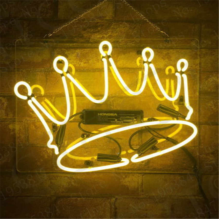 Gelb Crown Geschenk Neon Zeichen Echt Glasrohr Open Bier Bar Pub Homeroom Girlsroom Party Decor 14x9