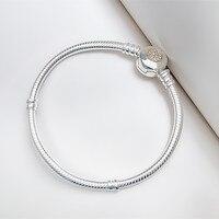 No fading bracelets 100% 925 silver charm bracelet femme Jewelry Pulseira Gift,1pz