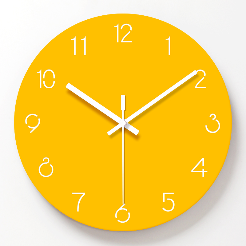 Pure Yellow  Wall Clock Creative Frameless Silent Watches Nordic Fresh Personality Living Room Kitchen Decorative Wall Clock