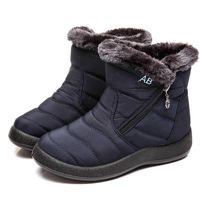 Wasserdicht Stiefeletten Stiefel Für Frauen Schnee Stiefel Plüsch Warme Frauen Winter Stiefel Booties Frauen Stiefel Weibliche Winter Schuhe Plus Größe 43