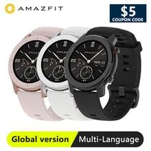 Stokta Amazfit GTR 42mm akıllı saat küresel sürüm smartwatch 5ATM su geçirmez Smartwatch 12 spor modları