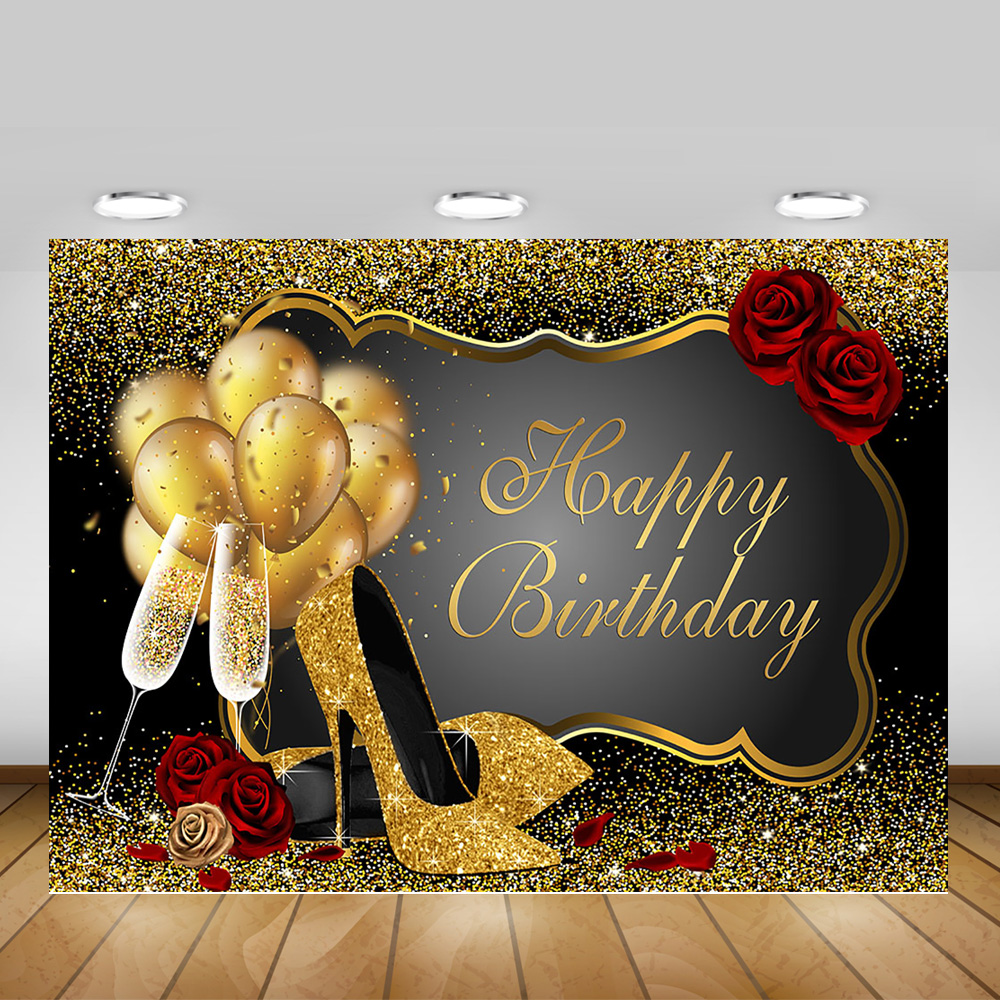 Zhy Ladies Birthday Backdrop 7X5FT Golden Champagne Ribbon Shiny High Heels Rose Mom Girlfriend Wife Birthday Romantic Red Photography Background YouTube Photo Favors Studio Prop Customize