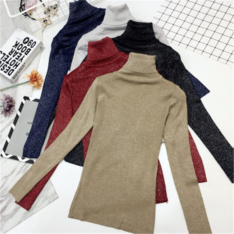 Shiny Lurex Sweater Female Korean Style Winter Turtleneck Women Autumn Basic Pullovers Long Sleeve Pull Femme Coat Female Top