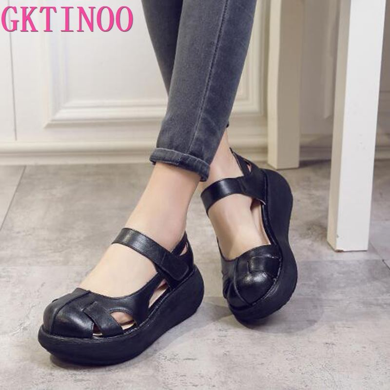 GKTINOO 2020 Summer Comfortable Sandals Female Round Toe Leisure Shoes High Heel Wedges Sandals Platform Shoes Leather Sandals
