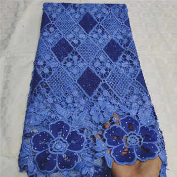 Newest African Guipure Cord Lace Fabric High Quality French Water Soluble Cord Lace Fabric With Stones For Nigerian Dress LX0811