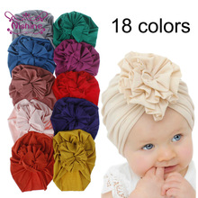 Nishine New Cute Flower Baby Girls Turban Hats Fashion Kids Bonnet Caps Children Photo Props Headwear Birthday Party Gifts