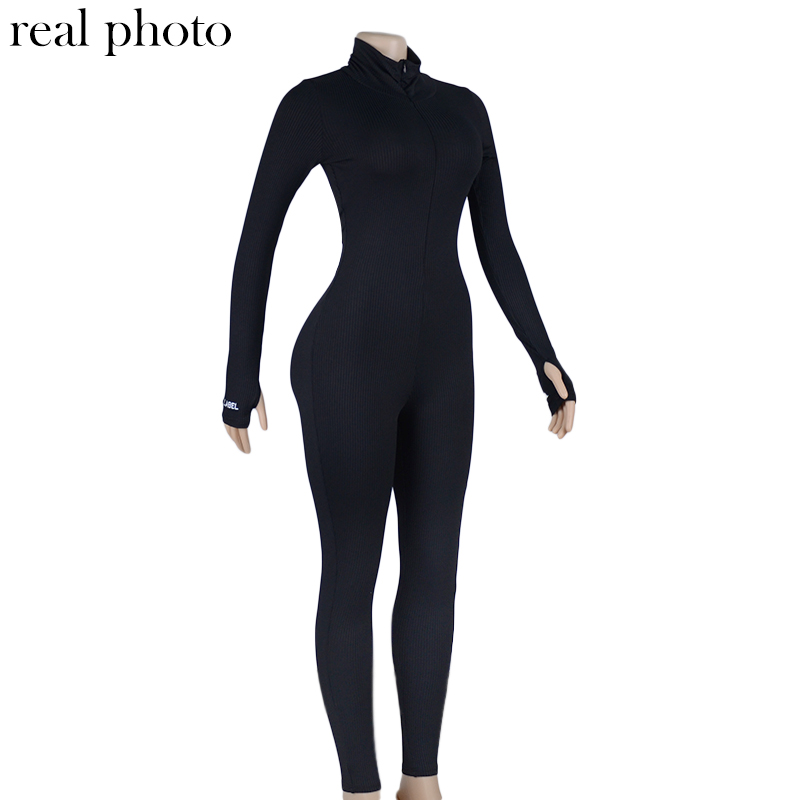 Simenual Workout Active Wear Ribbed Rompers Womens Jumpsuit Sporty Long Sleeve Fitness Embroidery Letter Print Zipper Jumpsuits