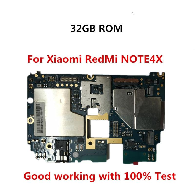 32gb móvel painel eletrônico mainboard placa-mãe desbloqueado com chips circuitos para xiaomi redmi hongmi note4x nota 4x snapdrago