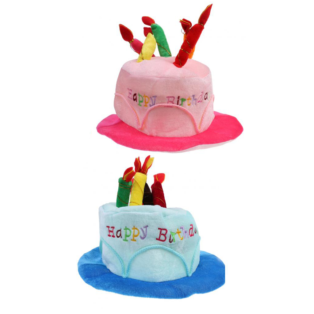CUTE Pink Plush Happy Birthday Hat Cake Hat with Mock Candles Gift Top Fun Party