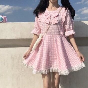 Japanese Summer New Kawaii Soft Girly Pink Plaid Dress Sweet Bow Cute Lace Ruffles Puff Sleeve Dress Lace Up Bow Loose Dress eyelash lace detail trumpet sleeve plaid dress