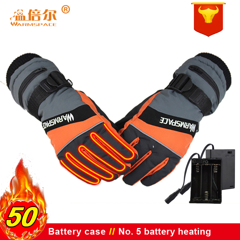 Warmspace Winter Gloves Battery Case Warmer Electric Thermal Gloves Heated Man Woman Heated Gloves Battery Powered For Ski Glove
